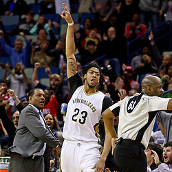 Feb 10, 2016; New Orleans, LA, USA; New Orleans Pelicans forward Anthony Davis (23) reacts after hitting on a three point basket during the fourth quarter of a game against the Utah Jazz at the Smoothie King Center. The Pelicans defeated the Jazz 100-96. Mandatory Credit: Derick E. Hingle-USA TODAY Sports