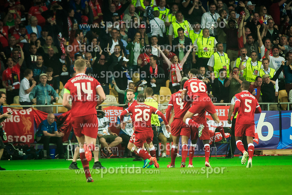 Players of Liverpool celebrate after scoring first goal during the UEFA Champions League final football match between Liverpool and Real Madrid at the Olympic Stadium in Kiev, Ukraine on May 26, 2018.Photo by Sandi Fiser / Sportida