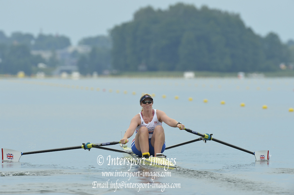 Trackai. LITHUANIA. GBR W1X,  Rachel GAMBLE-FLINT, move away from the start in her morning heat in the women's single sculls on Lake Galve. 2012 FISA U23 Rowing Championships,  14:03:10 Thursday 12/07/2012 [Mandatory credit: Peter Spurrier/Intersport Images]..Rowing, U23, 2012.