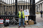 Mark Firth on the British museum picket line. PCS Budget Day Strikes were held all over London, followed by a rally outside the House of Commons. 20th March 2013.