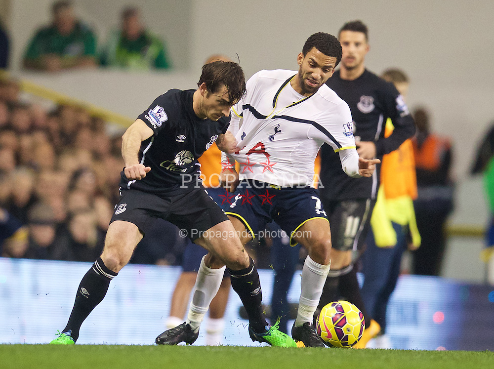 LONDON, ENGLAND - Sunday, November 30, 2014: Everton's Leighton Baines in action against Tottenham Hotspur's Aaron Lennon during the Premier League match at White Hart Lane. (Pic by David Rawcliffe/Propaganda)