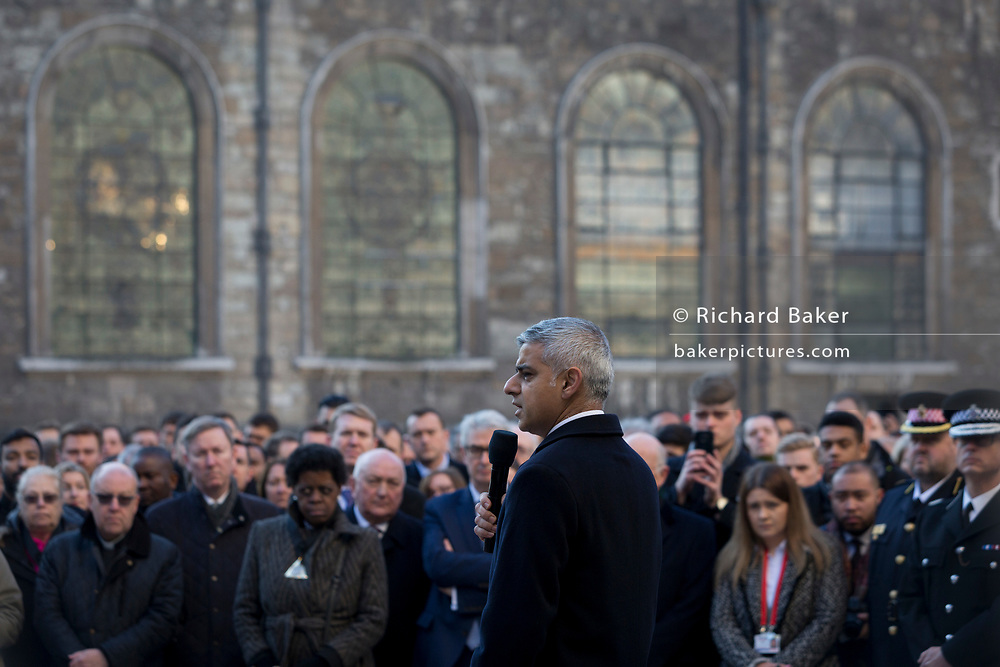 Three days after the killing of Jack Merritt, 25, and Saskia Jones, 23, by the convicted teorrorist Usman Khan at Fishmongers' Hall on London Bridge, friends and families of the victims and Prime Minister Boris Johnson, Leader of the Opposition Jeremy Corbyn, London Mayor Sadiq Khan who addresses the crowd at the vigil at the Guildhall in the City of London, on 2nd December 2019, in London, England.