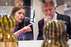 Repro Free: 16/05/2013.Stephen Sealy, Managing Director, Brown Thomas Group is pictured with maker Catherine Keenan in Brown Thomas Dublin at the launch of ICON (Irish Craft Original Names), a curated selection of unique, innovative objects from the flagship publication 'Irish Craft Portfolio: Critical Selection 2013-2014'. An exhibition of work from both the publication and the Irish Craft Portfolio programme (www.irishcraftportfolio.ie) will also be displayed throughout the Dublin store.  ICON will be at Brown Thomas from today until Saturday, 15th June 2013. Picture Andres Poveda