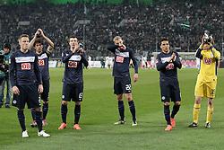 07.04.2012, Borussia-Park, Moenchengladbach, GER, 1. FBL, Borussia Moenchengladbach vs Hertha BSC, 29. Spieltag, im Bild v.l. Christian Lell (Hertha BSC Berlin), Levan Kobiashvili (Hertha BSC Berlin), Nikita Rukavytsya (Hertha BSC Berlin), Felix Bastians (Hertha BSC Berlin), Aenis Ben-Hatira (Hertha BSC Berlin) und Thomas Kraft (Hertha BSC Berlin) danken den Fans nach dem Punktgewinn in Moenchengladbach, Freisteller // during the German Bundesliga Match, 29th Round between VBorussia Moenchengladbach and Hertha BSC at the Borussia Park, Moenchengladbach, Germany on 2012/04/07. EXPA Pictures © 2012, PhotoCredit: EXPA/ Eibner/ Oliver Vogler..***** ATTENTION - OUT OF GER *****