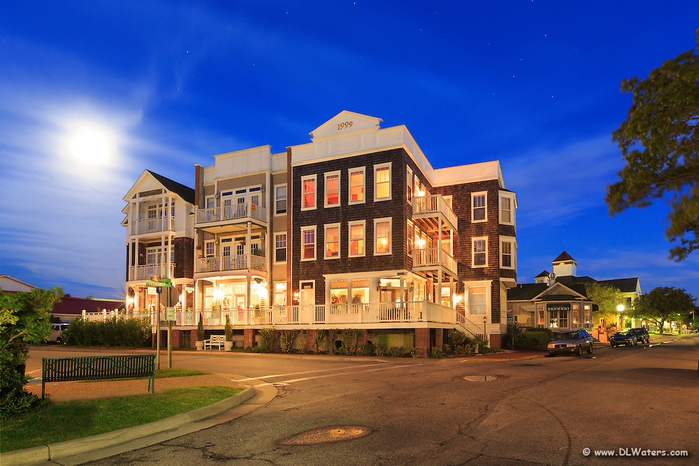 Downtown Manteo at twilight.