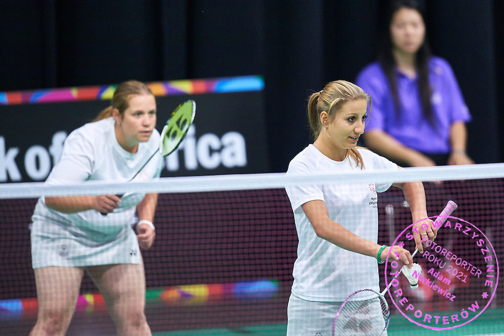 (L) SO Hungary athlete Judit Demeter and (R) SO Hungary athlete Virginia Purcel in action at badminton competition during seventh day of the Special Olympics World Games Los Angeles 2015 on July 31, 2015 at South Hall of Convention Centre  in Los Angeles, USA.<br /> <br /> USA, Los Angeles, July 31, 2015<br /> <br /> Picture also available in RAW (NEF) or TIFF format on special request.<br /> <br /> For editorial use only. Any commercial or promotional use requires permission.<br /> <br /> Adam Nurkiewicz declares that he has no rights to the image of people at the photographs of his authorship.<br /> <br /> Mandatory credit:<br /> Photo by © Adam Nurkiewicz / Mediasport