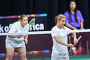 (L) SO Hungary athlete Judit Demeter and (R) SO Hungary athlete Virginia Purcel in action at badminton competition during seventh day of the Special Olympics World Games Los Angeles 2015 on July 31, 2015 at South Hall of Convention Centre  in Los Angeles, USA.<br /> <br /> USA, Los Angeles, July 31, 2015<br /> <br /> Picture also available in RAW (NEF) or TIFF format on special request.<br /> <br /> For editorial use only. Any commercial or promotional use requires permission.<br /> <br /> Adam Nurkiewicz declares that he has no rights to the image of people at the photographs of his authorship.<br /> <br /> Mandatory credit:<br /> Photo by &copy; Adam Nurkiewicz / Mediasport
