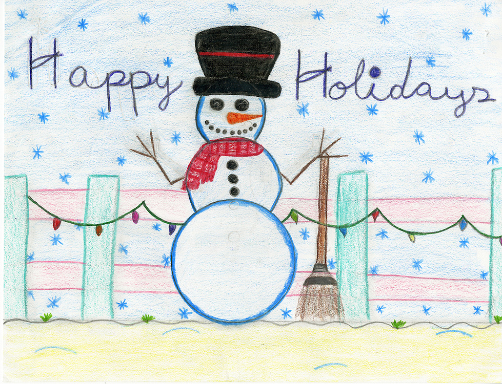 Holiday card designed by Jasmine Jasso of Scarborough Elementary School.