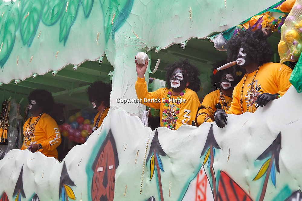 February 21, 2012; New Orleans, LA, USA; The Krewe of Zulu as it rolled along the uptown New Orleans St. Charles Avenue parade route throwing beads, painted coconuts and various trinkets on Mardi Gras day. Mardi Gras is an annual celebration that ends at midnight with the start of the Catholic Lenten season which begins with Ash Wednesday and ends with Easter. Photo by: Derick E. Hingle