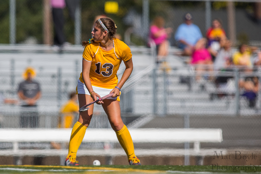 Rowan University Freshman Midfield/Back Allison Engle (13); Rowan University Field Hockey vs Neumann University at Coach Richard Wacker Stadium in Glassboro, NJ on Saturday September 28, 2013. (photo / Mat Boyle)