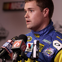Driver Ricky Stenhouse Jr., the boyfriend of driver Danica Patrick, speaks with the media during the NASCAR Media Day event at Daytona International Speedway on Thursday, February 14, 2013 in Daytona Beach, Florida.  (AP Photo/Alex Menendez)
