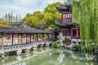 detail of the historic Yuyuan Garden created in the year 1559 by Pan Yunduan in Shanghai China