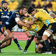 During the super rugby union  game between Hurricanes  and Highlanders, played at Westpac Stadium, Wellington, New Zealand on 24 March 2018.  Hurricanes won 29-12.