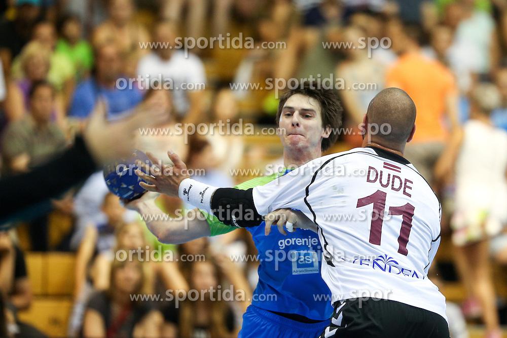 Sebastian Skube of Slovenia during handball match between National Teams of Slovenia and Latvia in Qualification of 2016 Men's European Championship, on June 13th, in Rdeca Dvorana, Velenje. Photo by Morgan Kristan / Sportida