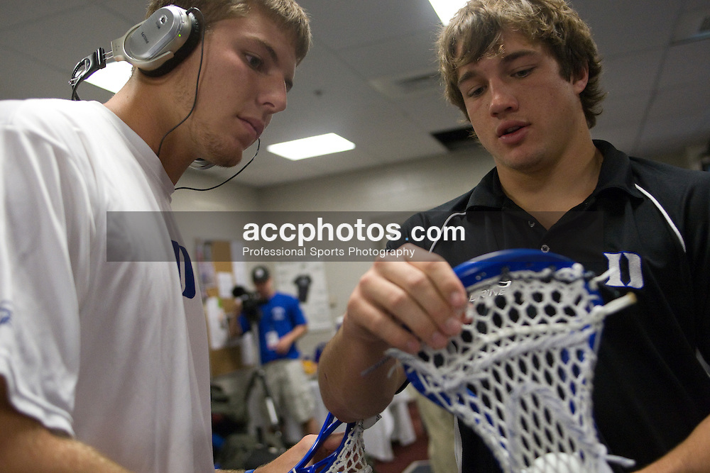 24 May 2008: Duke Blue Devils attackman Justin Turri (12) and midfielder Sam Spillane (5) before playing the Johns Hopkins Blue Jays at Gillette Stadium during the NCAA Semifinals in Foxborough, MA.