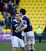Jamie McCluskey is congratulated by Stephen O'Donnell after scoring the winner - Livingston v Dundee, IRN BRU Scottish Football League, First Division - ..© David Young - .5 Foundry Place - .Monifieth - .Angus - .DD5 4BB - .Tel: 07765 252616 - .email: davidyoungphoto@gmail.com.web: www.davidyoungphoto.co.uk
