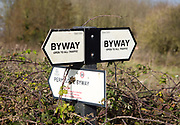 Byway open to all traffic signs, Salisbury Plain, Wiltshire, England, UK