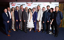 (left to right) Thomas Turgoose, Stewart le Marechal, guest, Christian Rubeck, Ronan Daly, Oliver Parker, Charlotte Riley, Rob Brydon, Jim Carter, Chris Jepson, Daniel Mays, Spike White and Rupert Graves attending the Swimming with Men premiere held at Curzon Mayfair, London.