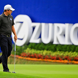 May 2, 2016; Avondale, LA, USA; Brian Stuard stands on the green at the ninth hole during the continuation of the third round of the 2016 Zurich Classic of New Orleans at TPC Louisiana. The tournament has been shortened to 54 holes due to weather delays throughout the week. Mandatory Credit: Derick E. Hingle-USA TODAY Sports