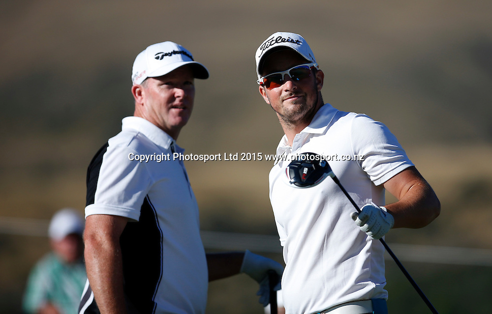 Kristopher Mueck and Marcus Fraser of Australia during round three of the 2015 BMW New Zealand Golf Open, The Hills, Arrowtown, New Zealand 14 March 2015. Copyright Photo: Michael Thomas / www.photosport.co.nz