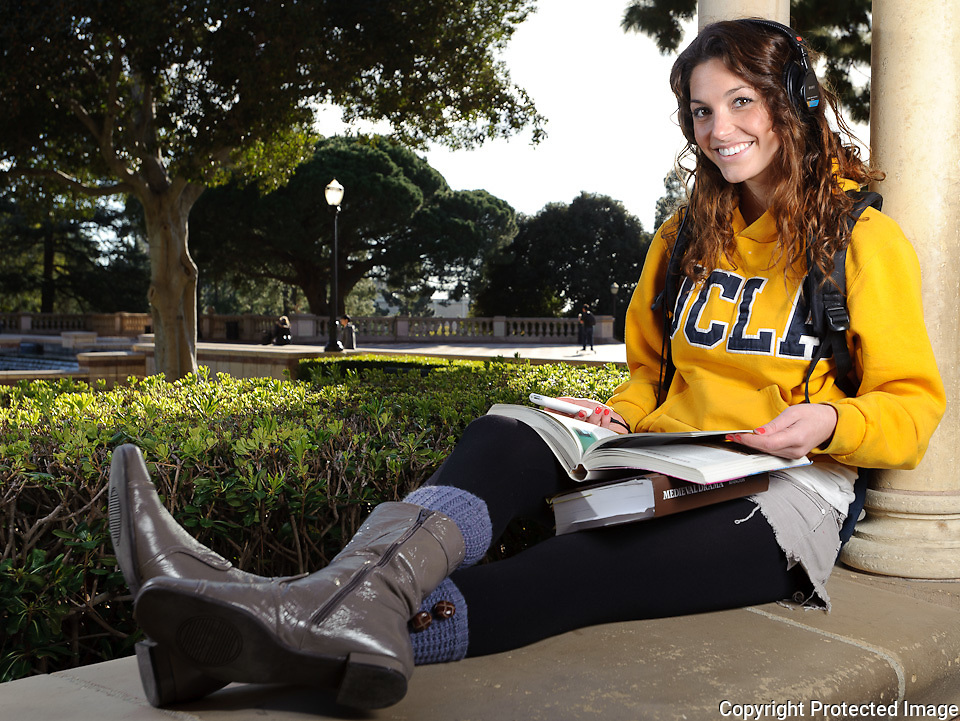 """Portrait of Lauren Berger shot for use as part of a photo illustration in the Daily Bruin """"Prime"""" fashion and lifestyle magazine."""