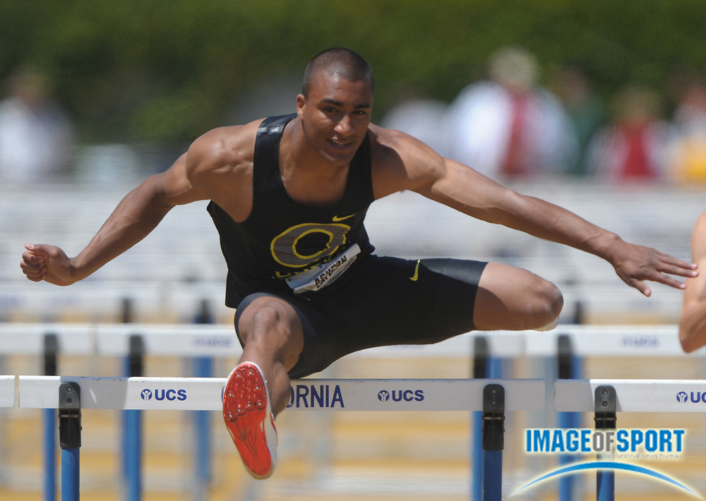 May 15, 2010; Berkeley, CA, USA; Ashton Eaton of Oregon runs 14.06 in 110m hurdle heat to advance to the final in the 2010 Pacific-10 Conference Track and Field Championships at Edwards Stadium.