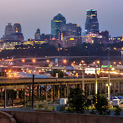 Sunrise panorama photo of downtown Kansas City Missouri skyline, taken from St. John's Park in Kansas City, Kansas across the state line.