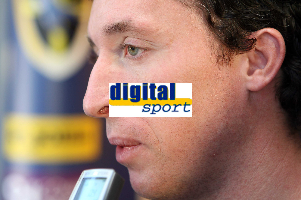 Photo: Rich Eaton.<br /> <br /> Cardiff City Press Conference. Coca Cola Championship. 24/07/2007. Robbie Fowler pictured talking to the media at Ninian Park, where he was announed as a new signing by Cardiff City.