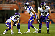 DENVER, CO - AUGUST 11:  Kyle Sloter #1 of the Minnesota Vikings calls out a play at the line of scrimmage during a game against the Denver Broncos during week one of preseason at Broncos Stadium at Mile High on August 11, 2018 in Denver, Colorado.  The Vikings defeated the Broncos 42-28.  (Photo by Wesley Hitt/Getty Images) *** Local Caption *** Kyle Sloter