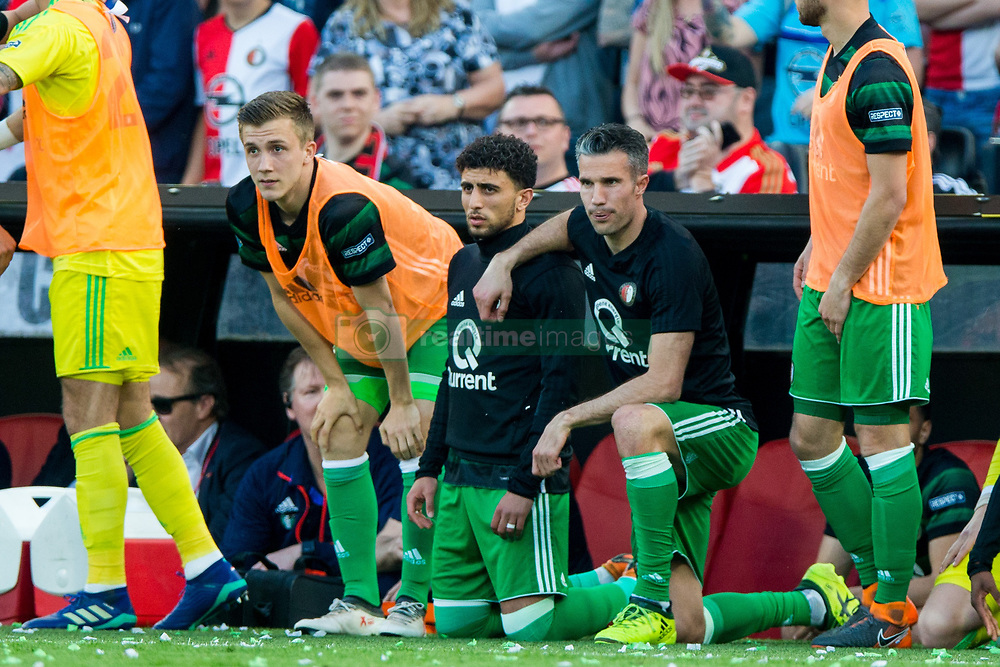 Dylan Vente of Feyenoord, Bilal Basacikoglu of Feyenoord, Robin van Persie of Feyenoord during the Dutch Toto KNVB Cup Final match between AZ Alkmaar and Feyenoord on April 22, 2018 at the Kuip stadium in Rotterdam, The Netherlands.