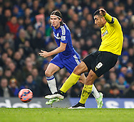 Filipe Luis of Chelsea can only look on as Troy Deeney of Watford shoots during the FA Cup match at Stamford Bridge, London<br /> Picture by David Horn/Focus Images Ltd +44 7545 970036<br /> 04/01/2015