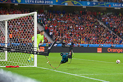 LILLE, FRANCE - Friday, July 1, 2016: A TV Camera on a boom takes an unusual angle as Wales goalkeeper Wayne Hennessey takes a goal kick against Belgium during the UEFA Euro 2016 Championship Quarter-Final match at the Stade Pierre Mauroy. (Pic by Paul Greenwood/Propaganda)