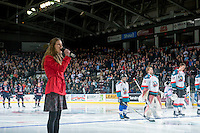 KELOWNA, CANADA - JANUARY 7: Country music singer, Rachel Layne, performs the national anthem at the Kelowna Rockets against the Kamloops Blazers on January 7, 2017 at Prospera Place in Kelowna, British Columbia, Canada.  (Photo by Marissa Baecker/Shoot the Breeze)  *** Local Caption ***