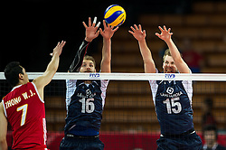 13.09.2014, Centennial Hall, Breslau, POL, FIVB WM, Finnland vs China, 2. Runde, Gruppe F, im Bild Weijun Zhong china #7 Olli Pekka Ojansivu finland #16 Matti Oivanen finland #15 // On the picture: Weijun Zhong china #7 Olli Pekka Ojansivu finland #16 Matti Oivanen finland #15 during the FIVB Volleyball Men's World Championships 2nd Round Pool F Match beween Finland and China at the Centennial Hall in Breslau, Poland on 2014/09/13. EXPA Pictures © 2014, PhotoCredit: EXPA/ Newspix/ Sebastian Borowski<br /> <br /> *****ATTENTION - for AUT, SLO, CRO, SRB, BIH, MAZ, TUR, SUI, SWE only*****