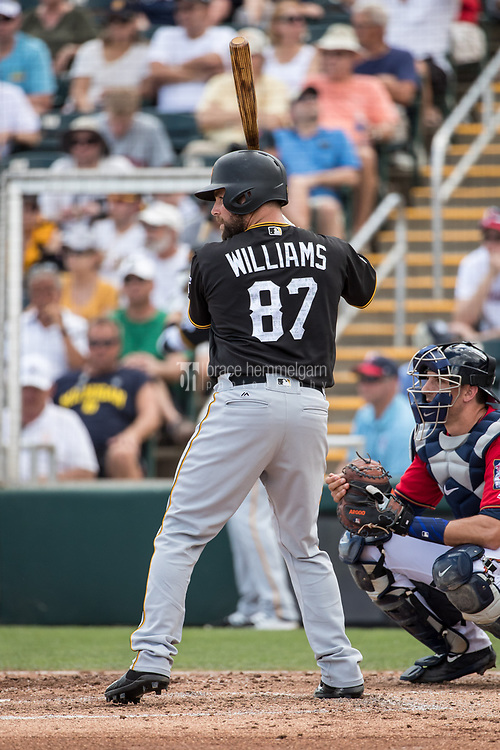 FORT MYERS, FL- MARCH 01: Jackson Williams #87 of the Pittsburgh Pirates bats against the Minnesota Twins on March 1, 2017 at the CenturyLink Sports Complex in Fort Myers, Florida. (Photo by Brace Hemmelgarn) *** Local Caption *** Jackson Williams