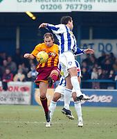 Photo: Kevin Poolman.<br />Colchester United v Bradford City. Coca Cola League 1. 04/02/2006. <br />Bradford's Marc Bridge-Wilkinson (L) gets to the ball first.