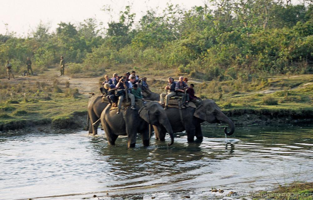 Asia, Nepal, Chitwan National Park. Elephant back safari.