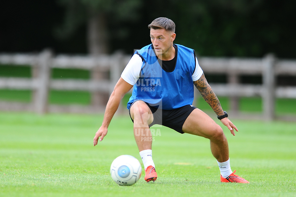 TELFORD COPYRIGHT MIKE SHERIDAN Lee Vaughan in action as AFC Telford United return to training at Lilleshall National Sports Centre on Saturday, July 4, 2020.<br /> <br /> <br /> Picture credit: Mike Sheridan/Ultrapress<br /> <br /> MS202021