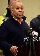 Massachusetts Governor Deval Patrick address members of the media at a press conference in Boston on April 15, 2013. Three people were killed by two explosions on Boylston Street near the finish line of the Boston Marathon, in which 27,000 people competed.