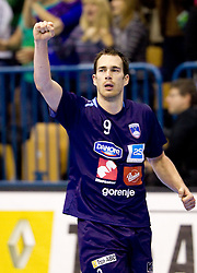 Jure Natek of Slovenia celebrates during handball match between National teams of Slovenia and Portugal in the Qualifications of the EHF EURO 2012, on October 27, 2010 at Arena Zlatorog, Celje, Slovenia. Slovenia defeated Portugal 34 - 31.(Photo By Vid Ponikvar / Sportida.com)