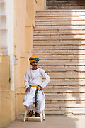India, Rajasthan, Jodhpur, Mehrangarh fort Interior of the fort guard in traditional clothes