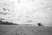 Photo ocean wall art. Manhattan Beach landscape print. El Porto beach facing south with perfect clouds in the sky. Southbay, California. Matted print, limited edition. Fine art photography print.