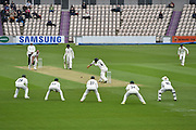 Joe Leach of Worcestershire bowling to Jimmy Adams of Hampshire during the Specsavers County Champ Div 1 match between Hampshire County Cricket Club and Worcestershire County Cricket Club at the Ageas Bowl, Southampton, United Kingdom on 13 April 2018. Picture by Graham Hunt.