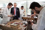 Corridonia, Marche - Andrea Santoni, fondatore del calazturificio Santoni. Tutti gli operai sono altamente specializzati. Dalla scelta del pellame e del cuoio, al taglio della pelle, dalla velatura alla lucidatura. Ogni singola calzatura e fatta a mano. Le scarpe Santoni rappresentano il vero made in Italy.<br /> Ph. Roberto Salomone