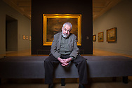 Film Director, Mike Leigh, in front of a JMW Turner painting in the Tate Britain museum, London, Britain. <br /> Photo&copy;Steve Forrest/Workers' Photos