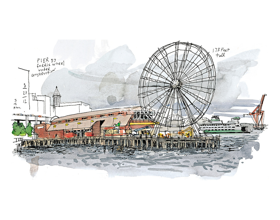 "Developer Hal Griffith, who has owned Pier 57 since the 1980s, says the $20-million plus Great Wheel is the most visible change to the waterfront in years. He said the waterfront needed ""something really big"" to counteract the disruption being caused by the demolition and replacement of the Alaskan Way viaduct. (Gabriel Campanario / The Seattle Times)"