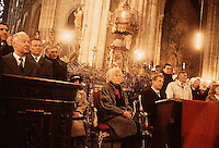 December 1989, Prague, Czech Republic --- Newly-elected Czechoslovakian president Vaclav Havel sits with Alexander Dubcek, president of the Czech parliament, with others in a Prague church. --- Image by © Owen Franken/CORBIS - Photograph by Owen Franken