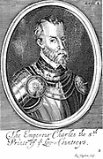 Charles V (1500-1553) Holy Roman Emperor from 1519. Shown here in armour  and wearing chain of Order of the Golden Fleece.  Founder of Habsburg dynasty. 17th century copperplate engraving .