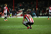 Brentford midfielder Alan Judge looking upset after the loss during the Sky Bet Championship match between Brentford and Burnley at Griffin Park, London, England on 15 January 2016. Photo by Matthew Redman.