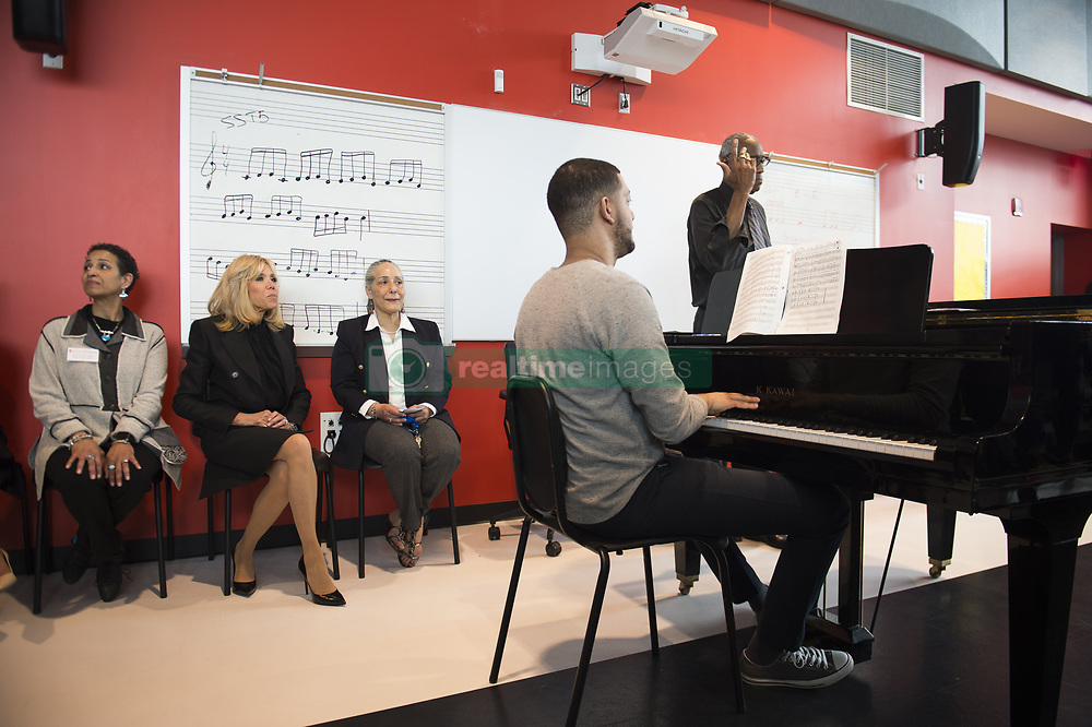 France's First Lady Brigitte Macron visits the Duke Ellington School of the Arts on April 25, 2018 in Washington, DC. Photo By ELIOT BLONDET/ABACAPRESS.COM